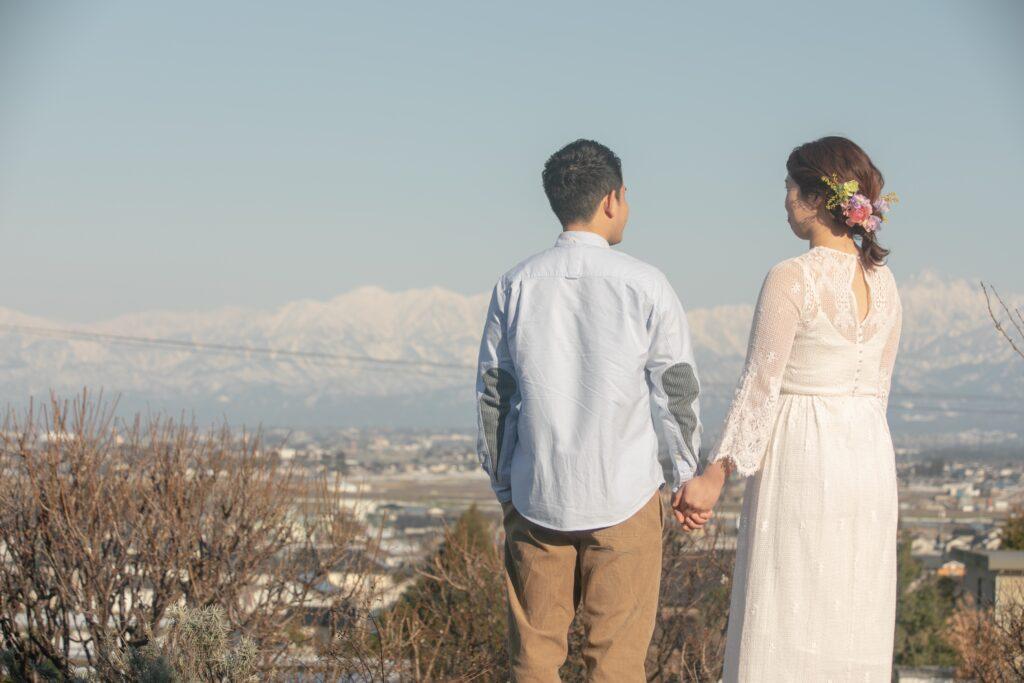 立山連峰を背景にロケーション前撮り